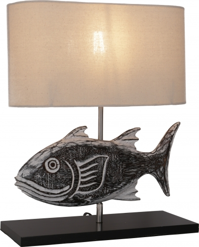 Table Lamp/Table Lamp, handmade in Bali from natural material - Model Fish - 43x35x15 cm