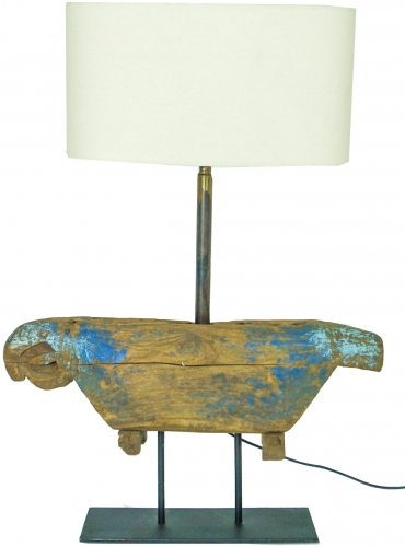 Table lamp/table lamp from old cowbell in chabby chick look - Model Bell - 68x47x15 cm
