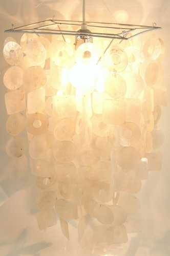 Ceiling lamp/ceiling light, shell lamp made of hundreds of Capiz, mother of pearl plates - model Seventy - 45x30x20 cm