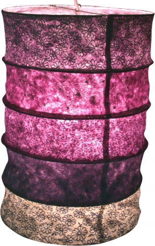 Round paper hanging lamp, Lokta paper lampshade Everest, handmade paper - purple - 40x28x28 cm