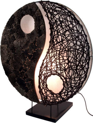 Table lamp/table lamp, handmade in Bali from natural material, lava stone - model Yin Yang stone - 50x45x18 cm