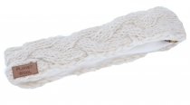 Woven wool knitted browband, knitted ear warmer - natural white