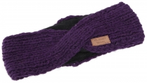 Crossed wool knitted headband, knitted ear warmer - violet