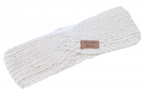 Crossed wool knitted headband, knitted ear warmer - natural white