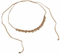 Makramee necklace with pretty pearls, Goaschmuck - caramel