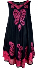 Tunic dress XXL, embroidered tunic hippie chic - black/pink