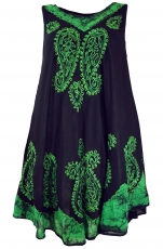 Tunic dress XXL, embroidered tunic hippie chic - black/green