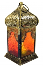 Oriental brass/glass lantern in Moroccan design, wind light - red..