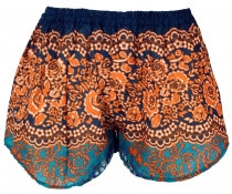 Lightweight Pantys Print Shorts - orange/turquoise