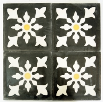 Cement tile set, ornament of 4 tiles, anthracite - Design 2