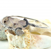 Boho bangle, bracelet with semi-precious stone - rose quartz
