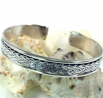 Silver bracelet with celtic knot, celtic bangle
