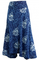 Ethno trouser skirt, Boho maxi skirt with flower print - indigo