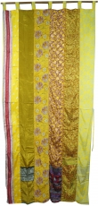 Curtain (1 pc.) Patchwork curtain saree cloth, unique - yellow co..