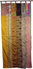 Curtain (1 pc.) Patchwork curtain Saree fabric, unique - light br..