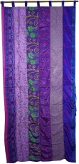 Curtain (1 pc.) Patchwork curtain Saree fabric, unique - purple c..