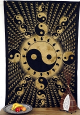 Indisches Wandtuch, Batik Tagesdecke - Ying Yang / ocker