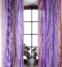 1 pair of curtains (2 pcs.) curtain from patchwork saree cloth, u..