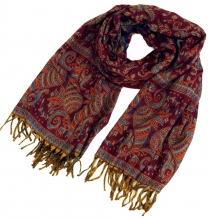 Soft pashmina scarf/stole with paisley pattern - wine red