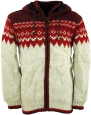 Norweger Wolljacke Strickjacke - rot
