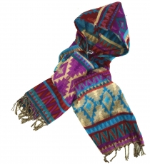 Soft Goa hooded scarf, stole with hood - purple