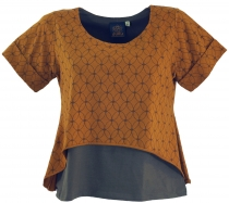 Yoga-T-Shirt, Yoga Layer-Shirt `Flower of Life` - caramel