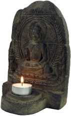 mini temple, Buddha figure, stone tea light holder