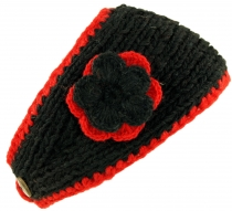 Wool-knit browband with flower - black