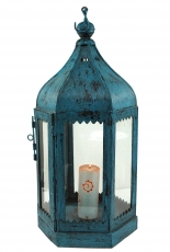 Antique blue oriental metal/glass lantern in Moroccan design, lan..