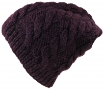 Beanie cap, knitted cap with cable pattern - plum