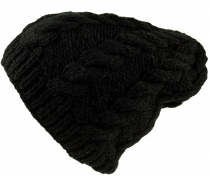 Beanie cap, knitted cap with cable pattern - black