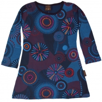 Embroidered girls tunic, ethnic mini dress, children dress - blue