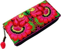Ethno embroidered purse Chiang Mai, Boho purse - pink/black
