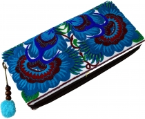 Ethno embroidered purse Chiang Mai, Boho purse - turquoise