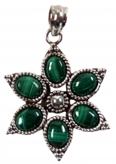 Ethno Blossoms Silver Pendants, Indian Boho Pendant - Malachite