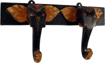 Double wall hook elephant from wood black