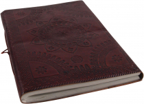 Thin notebook, leather book with decorated cover 12*17 cm