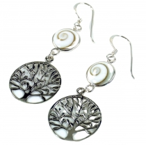 Ethno silver earrings with `Shiva shell` Tree of life - 2