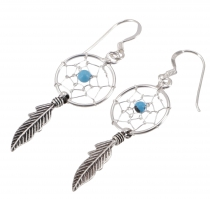 Silver earrings celticdreamcatcher 1,2 cm - Turquoise