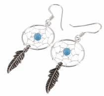 Silver earrings celticdreamcatcher 1,7 cm - Turquoise