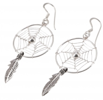 Silver earrings with dream catcher 2 cm