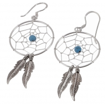 Silver earrings celticdreamcatcher 2,5 cm - turquoise