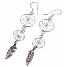 Silver earrings with two dreamcatchers 1.2 cm