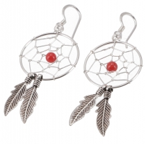 Silver earrings with dreamcatchers 2 cm - coral