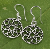 Ethno Silver Earrings vintage `Flower of Life` - 5
