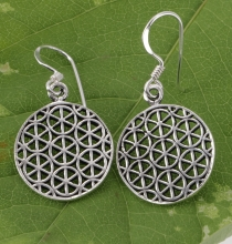Ethno Silver Earrings vintage `Flower of Life` - 3