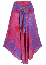 Boho summer skirt, maxi skirt hippie chic - pink/blue