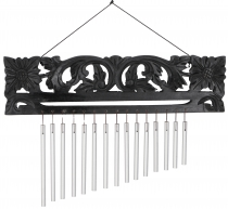 Indonesian aluminium chime, exotic wind chime with carving - Vers..
