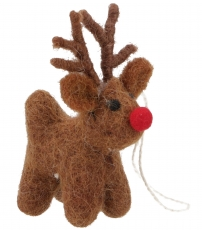 Tree curtain reindeer with red nose, felt tree decoration - model..