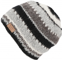 Beanie cap, striped knitted hat from Nepal - grey/black